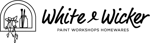 White and Wicker logo black trans jolie paint northern rivers